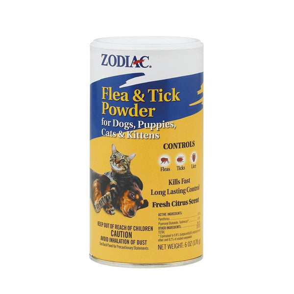 Zodiac Flea & Tick Powder for Dogs Puppies Cats & Kittens 6oz Shaker Top.