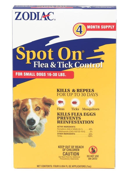 Zodiac Spot On Flea & Tick Control for Dogs 16-30lb 4pk.