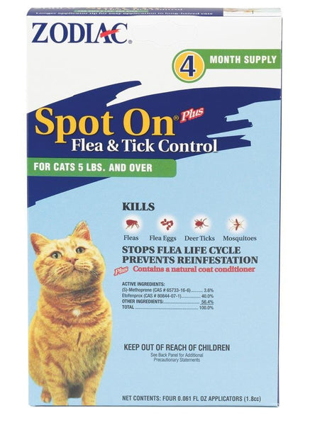 Zodiac Spot On Plus Flea & Tick Control for Cats Over 5lb 4pk.