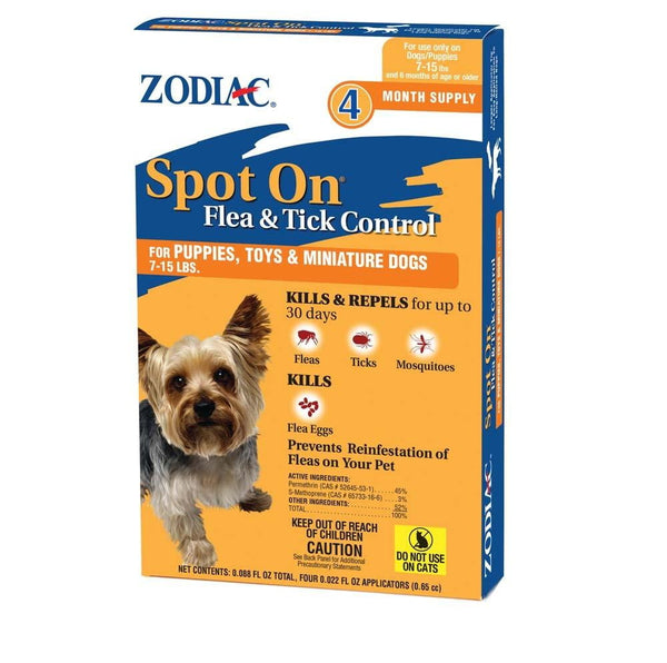 Zodiac Spot On Flea & Tick Control for Puppies 7-15 lbs 4PK.