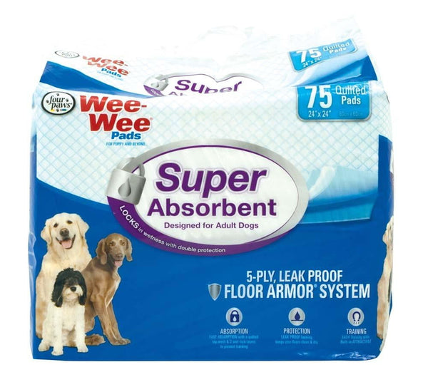 Four Paws Wee Wee Pads Super Absorb 75ct.