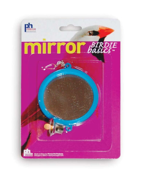 Prevue Pet Products Birdie Basics Two Sided Round Mirror with Bell Bird Toy.