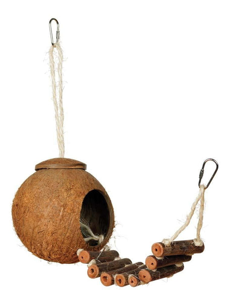 Prevue Pet Products Naturals Coco Hideaway with Ladder Bird Toy.