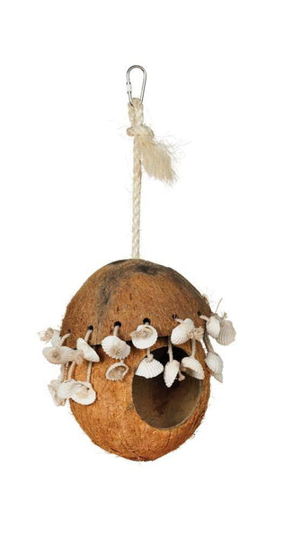 Prevue Pet Products Naturals Coco Hideaway with Shells Bird Toy.
