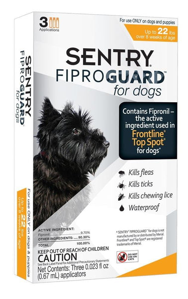 SENTRY FiproGuard Dog Flea & Tick Squeeze-On up to 22lb 3ct.