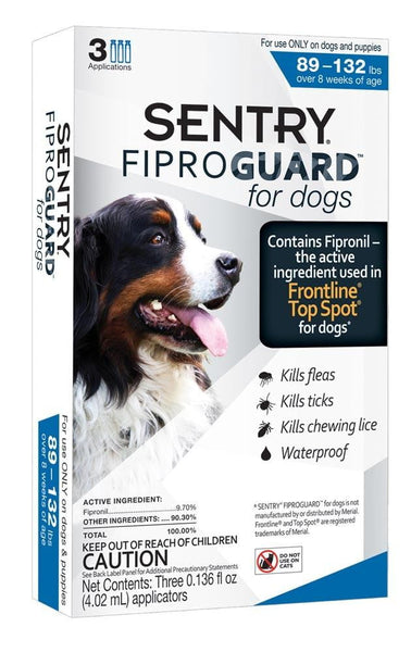 SENTRY FiproGuard Dog Flea & Tick Squeeze-On 89-132lb 3ct.