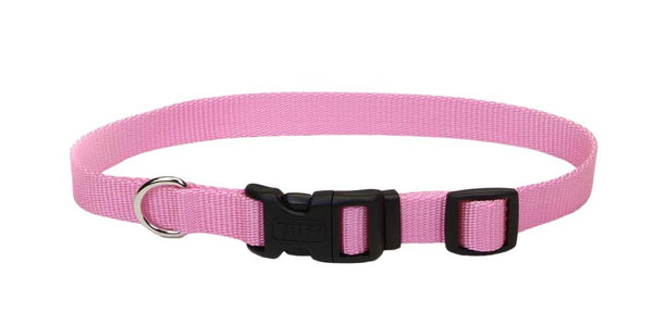 Coastal Adjustable Nylon Collar with Tuff Buckle Bright Pink 5-8X14in