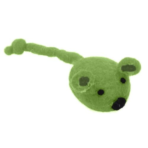"Coastal Pet Products Rascals  Handcrafted Wool 5"" Green Mouse."