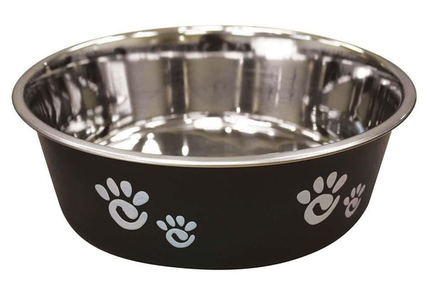 Ethical Products Barcelona Stainless Steel Paw Print Bowl Licorice 64oz.