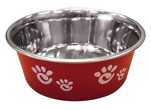 Ethical Products Barcelona Stainless Steel Paw Print Bowl Raspberry 32oz.