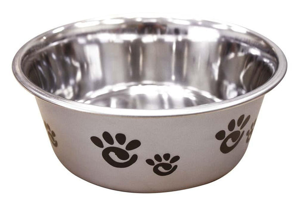 Ethical Products Barcelona Stainless Steel Paw Print Bowl Silver 32oz.