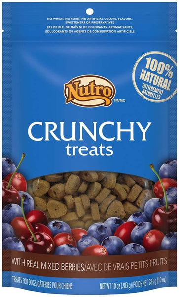 NUTRO Crunchy Dog Treats with Real Mixed Berries, 10 Ounce Bag.