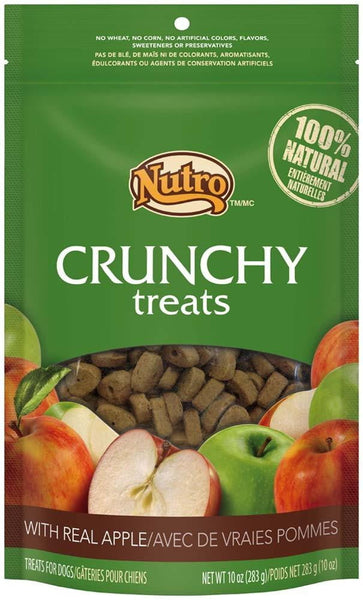 NUTRO Crunchy Dog Treats with Real Apple, 10 Ounce Bag.