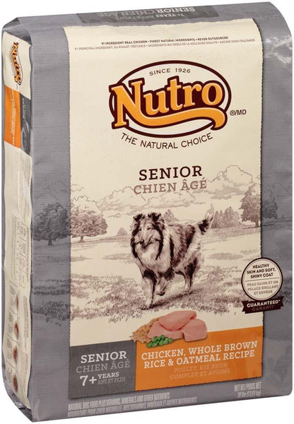 NUTRO WHOLESOME ESSENTIALS Farm-Raised Chicken, Brown Rice & Sweet Potato Recipe Senior Dry Dog Food 30 Pounds