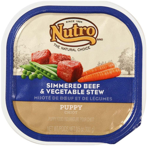 NUTRO PUPPY Tender Beef & Vegetable recipe Cuts in Gravy Dog Food Trays 3.5 Ounces (Pack of 24)