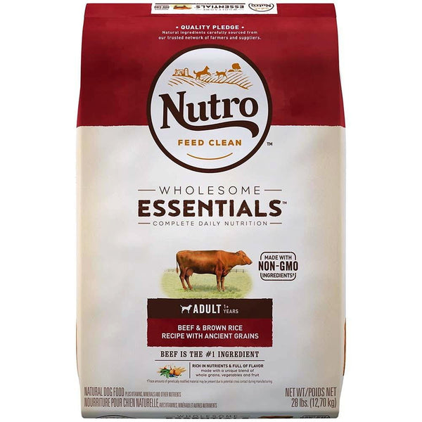 NUTRO WHOLESOME ESSENTIALS Beef Dry Dog Food 28lb