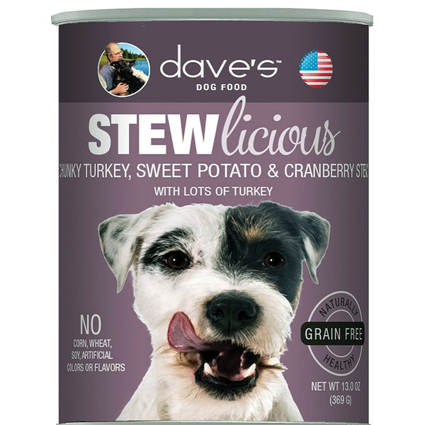 DAVE'S PET FOOD DOG STEWLICIOUS TURKEY, SWEET POTATO & CRANBERRY STEW 13OZ (case of 12).