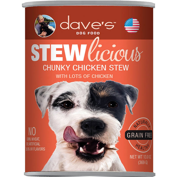 DAVE'S PET FOOD DOG STEWLICIOUS CHUNKY CHICKEN STEW 13OZ (Case of 12).