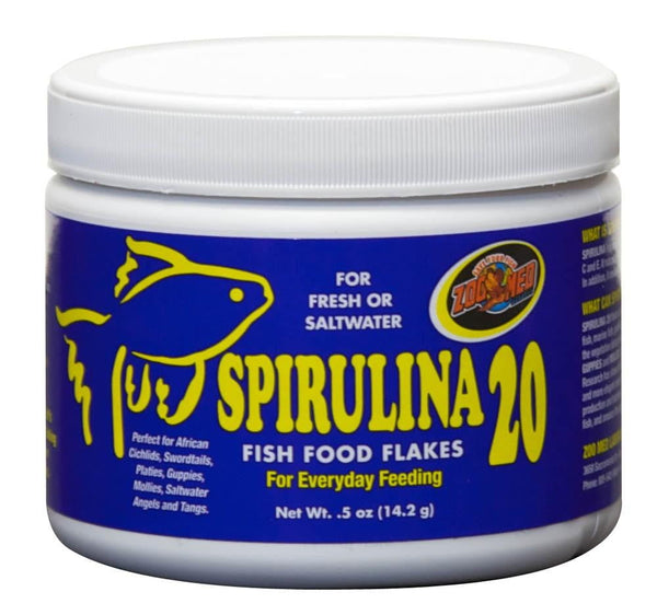 Zoo Med Spirulina 20 Flake Food .5oz - Leaderpetsupply.com