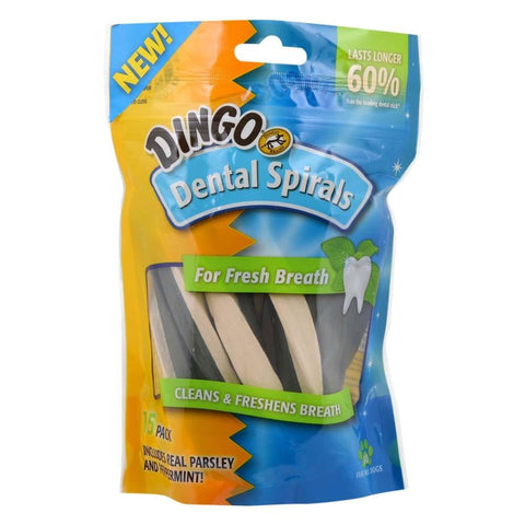 Dingo Dental Spirals for Fresh Breath, 15pk.
