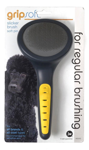 JW Pet GripSoft Slicker Brush Soft Pin.