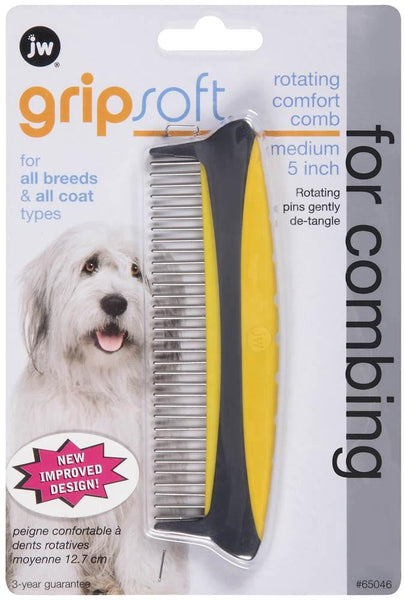 JW Pet GripSoft Rotating Comfort Comb Medium 5in.