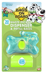 Bags on Board Turquoise Bone Dispenser with bags 30ct - Leaderpetsupply.com