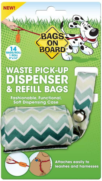 Bags on Board Fashion Dispenser Green Chevron Print 14ct.