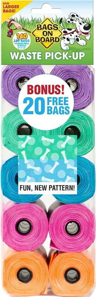 Bags on Board Fashion Print Bag Refill Pack 140ct - Leaderpetsupply.com