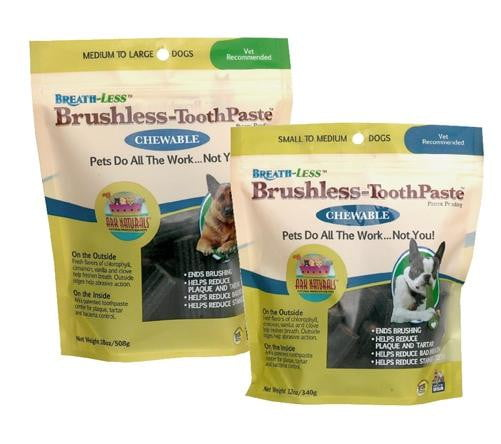 Ark Naturals Breath-Less Brushless Toothpaste Medium to Large Dog Chews, 18-oz bag.