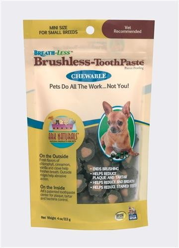 Ark Naturals Breath-Less Brushless Toothpaste Mini Dog & Cat Chews, 4-oz bag.