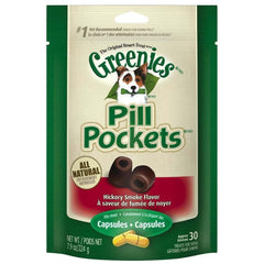 GREENIES PILL POCKETS Treats for Dogs Hickory Smoke - Capsule Size 7.9 oz. 30 Treats