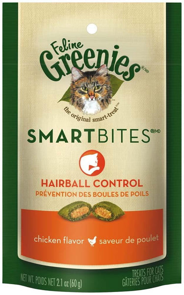 FELINE GREENIES SMARTBITES Hairball Control Treats for Cats Chicken Flavor 2.1 oz..