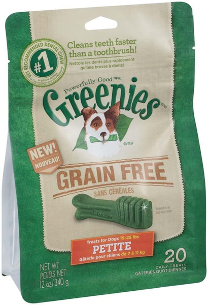 GREENIES Grain-free Petite Dog Dental Chews - 12 Ounces 20 Treats.