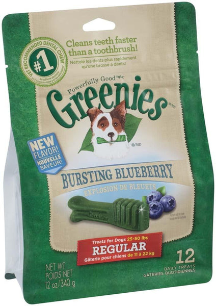 GREENIES Blueberry Flavor Regular Size Dog Dental Chews  - 12 Ounces 12 Treats.