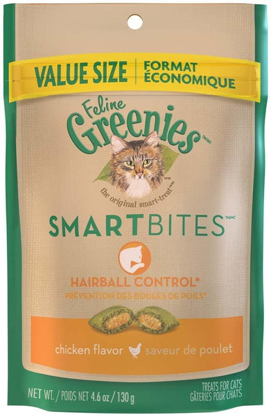 FELINE GREENIES SMARTBITES Hairball Control Chicken Flavor Treats for Cats 4.6 Ounces.