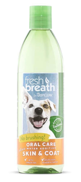 Fresh Breath by TropiClean Oral Care Water Additive Plus Skin & Coat.