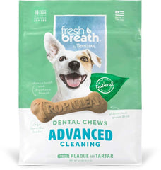 Fresh Breath by TropiClean Dental Chew Advanced Dog Treat 25+lbs Regular 10pc.