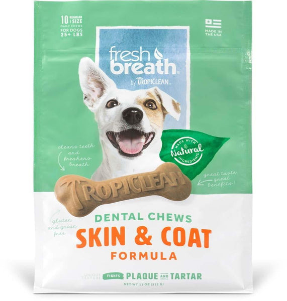 Fresh Breath by TropiClean Dental Chew Skin & Coat Dog Treat 25+lbs Regular 10pc.
