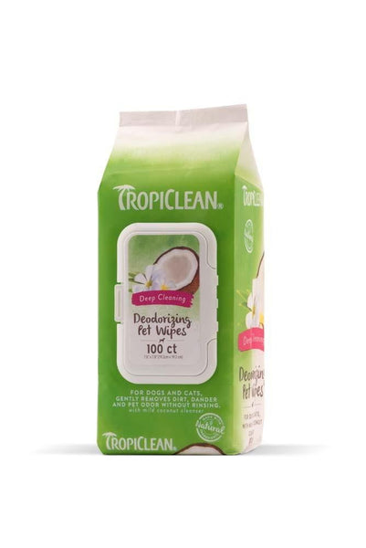 TropiClean Deep Cleaning Deodorizing Pet Wipes 100ct.