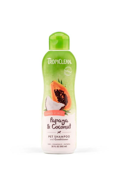 TropiClean Luxury 2-in-1 Papaya and Coconut Pet Shampoo & Conditioner 20oz.