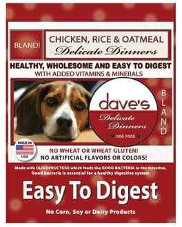 Daves Delicate Dinners (Easy to Digest) Chicken Meal, Rice & Oatmeal  16lbs.