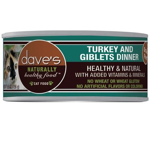 Daves Naturally Healthy Cat Food, Turkey & Giblets Dinner      Case of 24.