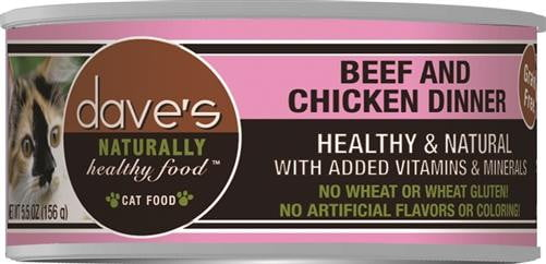 Daves Naturally Healthy Cat Food, Beef & Chicken Dinner    Case of 24.