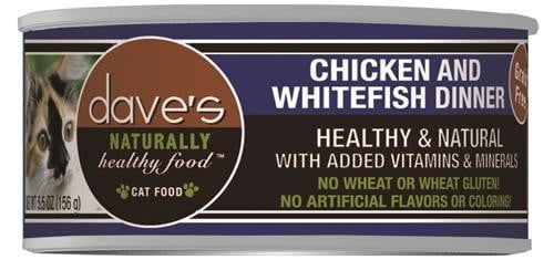 Daves Naturally Healthy Cat Food, Chicken & White Fish Dinner    Case of 24.