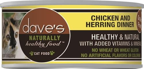 Daves Naturally Healthy Cat Food, Chicken & Herring Dinner Case of 24.