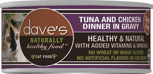 Daves Naturally Healthy Cat Food, Tuna & Chicken Dinner in Gravy  Case of 24.