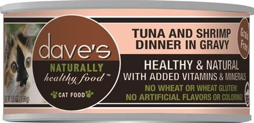 Daves Naturally Healthy Cat Food, Tuna & Shrimp Dinner in Gravy Case of 24.