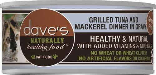 Daves Naturally Healthy Cat Food, Tuna & Mackerel Dinner in Gravy Case of 24.