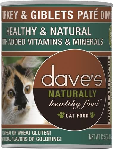 Daves Naturally Healthy Cat Food, Turkey & Giblets Pate Dinner Case of 12.
